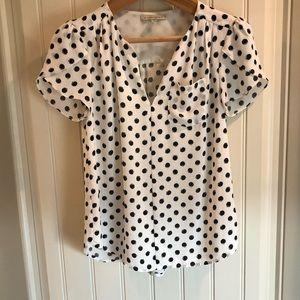 41 Hawthorn Tops - Stitch fix black and white polka dot blouse